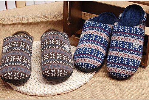 &zhou In autunno e inverno, Pantofole, uomini, in cotone, morbido, comodo, spessa, antiscivolo Blue