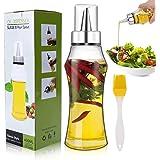 Familybox Aceitera Botella Antigoteo 400ML, Vinagre Botella de Aceite Oliva Cristal Dispensador con Pico de Acero Inoxi y Cep