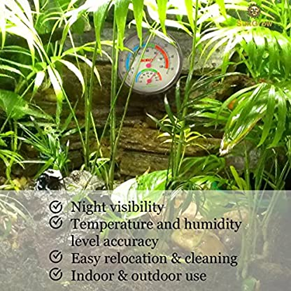 SunGrow Water-Proof Boro Analog Dual Thermometer & Humidity Gauge with Night light : Submersible Hygrometer… 3