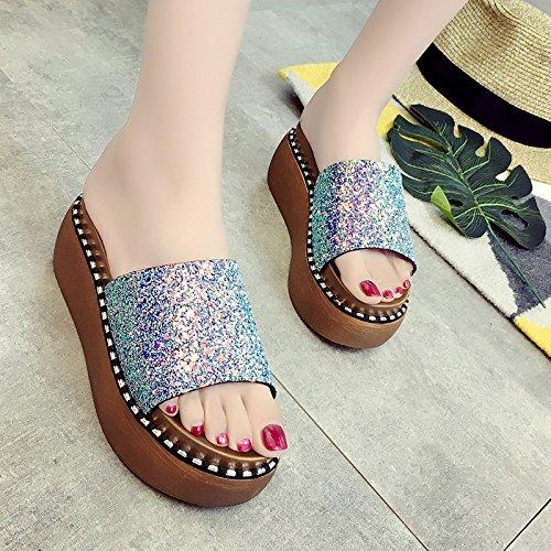 RUGAI-UE Cool pantofole fondo spesso pantofole tacchi alti scarpe da spiaggia Blue