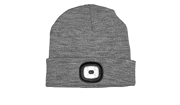 f3d16328ed918 Fizz Creations Grey LED Beanie - Beanie hat with built in LED torch   Amazon.co.uk  Sports   Outdoors