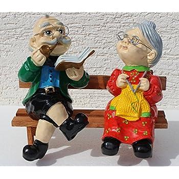 Js Gartendeko Figuren Dekorationsfigur Oma Und Opa Auf Bank H 28 Cm