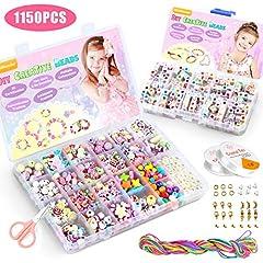 Idea Regalo - WinWonder Bambini Perline,1150 PCS Perline Colorate dei Bambini Fare Gioielli Braccialetti Necklace Kit Perline Lettere per Ragazze