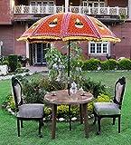 Lalhaveli Jaipuri Handmade Embroidery Work Designer Outdoor Garden Umbrella Large 52 X 72 Inches