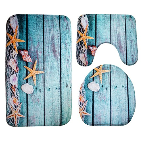 Badematten Set 3tlg, Asnlove 3er Badgarnitur Badezimmer Matte Set Dusch Bade Matte Vorleger Teppich 3D Muster für Wohnzimmer, Schlafzimmer, Schwimmbad Toilet - Starfish Blau Braun Und Blau Badematte