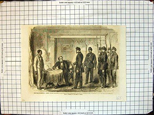 Stampa Antica del Tradimento 1861 di Sig. Faulkner U S Minister Francia Washington di Arresto