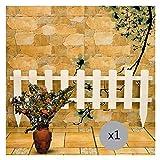 WXQ Gartenzaun aus Holz im Freien Picket Fencing Insert Boden Weiß European Style ländliche Dekoration (Color : 1PC, Size : 110X45CM)