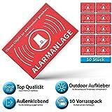 Alarm Aufkleber Alarmanlage - Achtung Alarmgesichert – Schild – Sticker ( Hinweisschild – Warnschild – Warnhinweis) für Türen, Fenster, Tore – 10 Stück ( 5 cm x 3,5 cm )