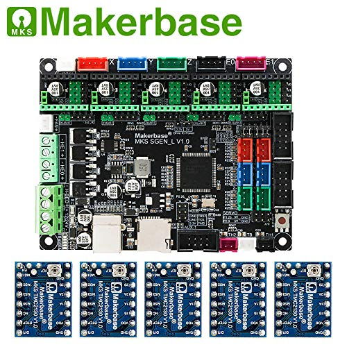 Scheda stampante 3D MKS SGen_L controller a 32 bit compatibile con firmware Marlin2.0 e smoothie. Supporta diversi tipi di unità, with 5PCS TMC2130-SGL, 1