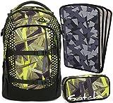 satch pack Jungle Lazer 3er Set Rucksack, Schlamperbox & Heftebox Schwarz