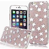 Phone Kandy® La caja del gel de silicona transparente de los lados de TPU de Bling del brillo carcasa funda (iPhone 6 6s (4.7 pulgadas), Estrella plateada)