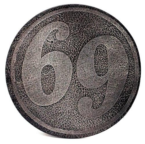 """Glas Untersetzer, """"69"""", Schwarz, handgearbeitet für Bier, Long Drinks, Whisky, Weinglas, aus 100% echtem Vintage Leder, Kreisdurchmesser ist 11cm"""