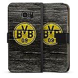 DeinDesign Samsung Galaxy S7 Edge Tasche Leder Flip Case Hülle Borussia Dortmund BVB Holzoptik