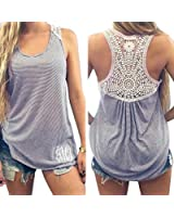 Imixcity Women Summer Lace Vest Tops Casual Sleeveless Tank Tops T-Shirt Blouse