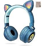 PowerLocus Trådlösa Bluetooth-hörlurar för barn, hörlurar över örat med LED-lampor, hopfällbara hörlurar med mikrofon, volymb