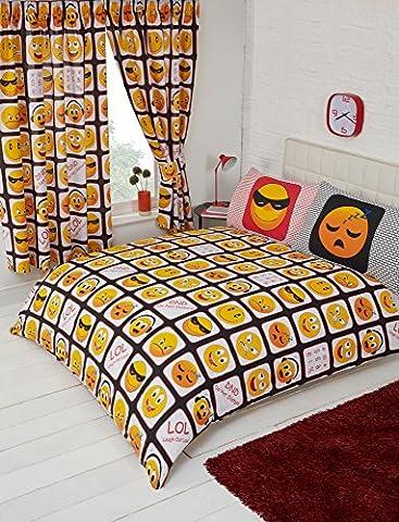 My Home – Parure de lit motif emojis pour lit double - rouge, jaune, blanc