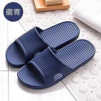 fankou Cool Zapatillas de Verano Indoor Femenino Antideslizante Inicio silencioso Baño Estancia Silencio Parejas Baño Masculino Home Fondo Blando,39-40, Azul Oscuro