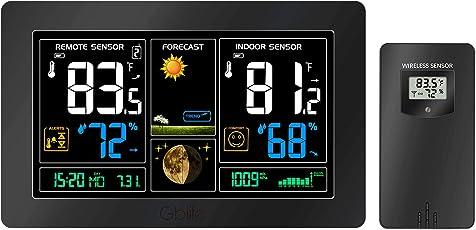 GBlife PT3378 Wetterstation mit Außensensor, Digitale Wecker mit Wettervorhersage Farbdisplay (USB)