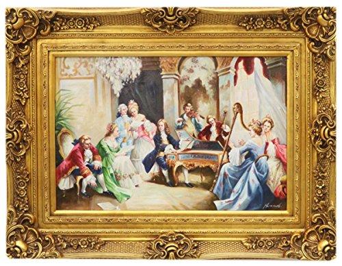 Casa Padrino Barock Öl Gemälde Musizieren Gold Prunk Rahmen 130 x H. 100 cm - Möbel im Barockstil