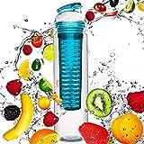 800ml Trinkflasche »FruitBottle« für Fruchtschorlen / Gemüseschorlen in den Farben Grün, Lila, Blau und Rot. Perfekte Sportflasche aus spülmaschinenfesten Tritan-Material mit extra-easy Trinkverschluss / blau