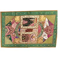 Mogul Interior Wall Hanging-Indian Traditional Green Patchwork Tapestry Size 60 X 40 Inches