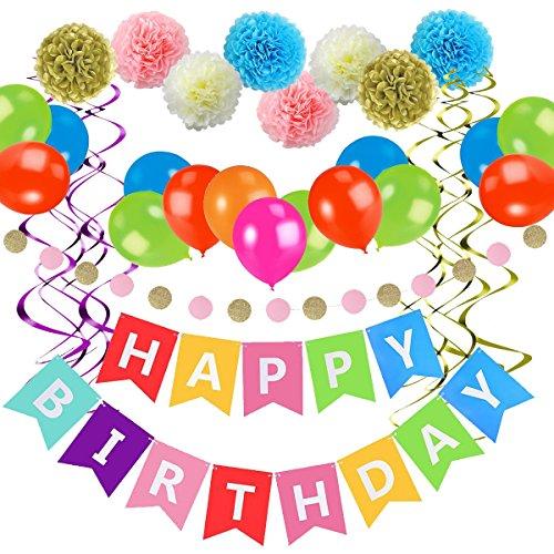 Exqline Geburtstagsdeko Geburtstag Dekoration Set Kindergeburtstag Partydeko Alles Gute zum Geburtstag Happy Birthday Girlande für - Happy Birthday 31