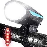 LETOUR - Luce per bicicletta con clacson forte, ricaricabile, impermeabile, luce anteriore per bicicletta con forte sirena, 3