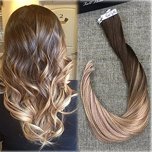 Full Shine 22Zoll/55cm Seamless Extensions Echthaar #4/18/27 Highlight Braun mit Blond Ombre Remy Tape on Echthaar Extensions 50g 22 In Extensions Echthaar