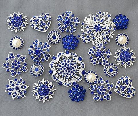 10 Royal Dark Blue Rhinestone Button Brooch Embellishment Pearl Crystal Wedding Bridal Brooch Bouquet Cake Decoration