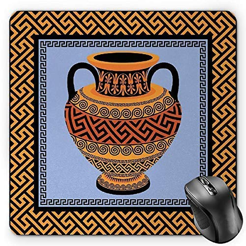 Frame with Traditional Vintage Square Ornament Meander and Amphora Gaming Mousepad Office Mouse Mat Orange Lavender Black ()