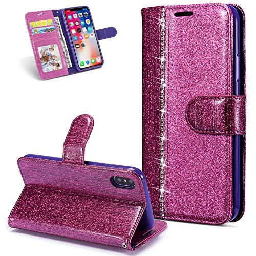 Huphant kompatibel mit iPhone X/iPhone XS Handyhülle Glitzer Leder Hülle Wallet Flip Schutzhülle Tasche mit iPhone X/iPhone XS Kartenfach Geldklammer Ständer Kartenfächer Magnet -Diamant lila