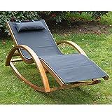 Outsunny Liegestuhl Sonnenliege Gartenliege Lounge Schaukelliege Relaxliege Relaxsessel mit Schaukelfunktion, schwarz, 165x72x70 cm, 840-015BK