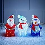 3er Set LED Weihnachts Acryl Figuren innen und außen Lights4fun
