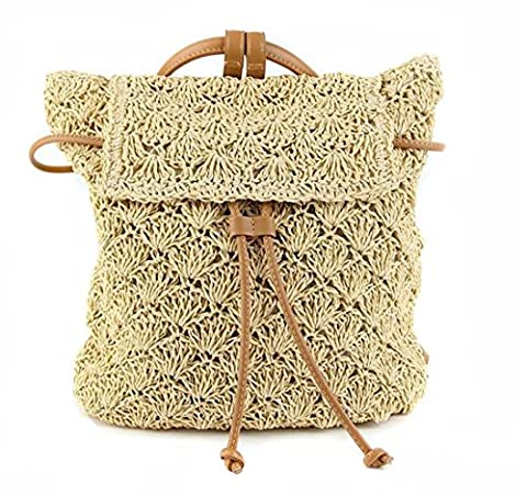 Women's Handwork Straw Knitted Hollow Beach Backpack Drawstring Shoulder Bag