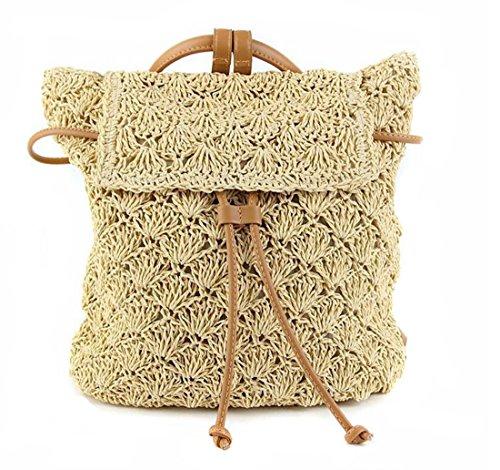 Da donna lavorazione paglia maglia cava spiaggia zaino coulisse borsa
