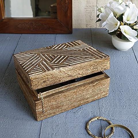 Store Indya, Caja hecha a mano multiproposito Mangowood decorativo almacenaje de la joyeria de la baratija del recuerdo Con rusticas Crosshatch tallas (grande)