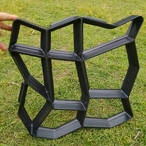 UxradG DIY Path Maker Form manuell Pflastersteine Zement Ziegel Stein Road wiederverwendbar Kunststoff Beton Garten Formen 43,5* Motiv Schwarze Katze (schwarz) - Schiefer Stein Ziegel