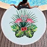 Rund Strandtuch Tropical Blumen Blätter Flamingo Microfaser Strandhandtuch Stranddecke Badetuch Picknickdecke Wandbehang Yoga Matten Groß 150cm