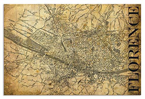 Artland Metallposter I Wandbild Metall - Magnet Halterung 67,5x45 cm Alu Poster Querformat Stadtplan Florenz Bild Sepia I0RS