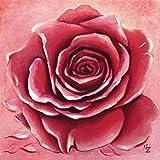 Artland Qualitätsbilder I Bild auf Leinwand Leinwandbilder Wandbilder 80 x 80 cm Botanik Blumen Rose Malerei Rot C8GF Rote Rose Handgemalt