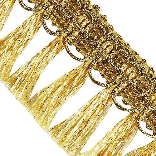 Sunbe Glanz geflochtene Fransen Quaste Spitze Band trimmen Goldmetallic Band Band trimmen für Kleidung verziert Nähzubehör 10 Yards Gold