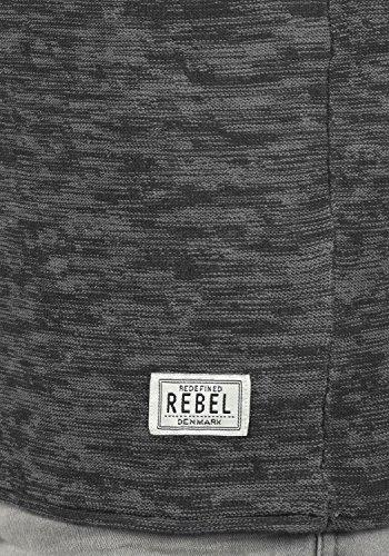 REDEFINED REBEL Millard Herren Strickpullover Feinstrick Pulli mit Rundhals-Ausschnitt aus 100% Baumwolle Meliert Black w. Forged Iron
