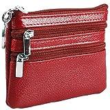 LIVAN® - L06 - Porte-Monnaie Homme Femme - Forme rectangulaire - Cuir Vachette épais résistant - pour Poches Pantalon ou Veste (Rouge L062 (2 Zips))