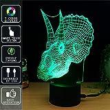 Dinosaurio Lámpara de mesa 3D Night Light Touch, Lámpara de mesa Fipart 7 Color Phantom Ambiance, Con Base Acrílica Y Luces LED Inteligentes Decorativas,Modo USB y alimentado por batería