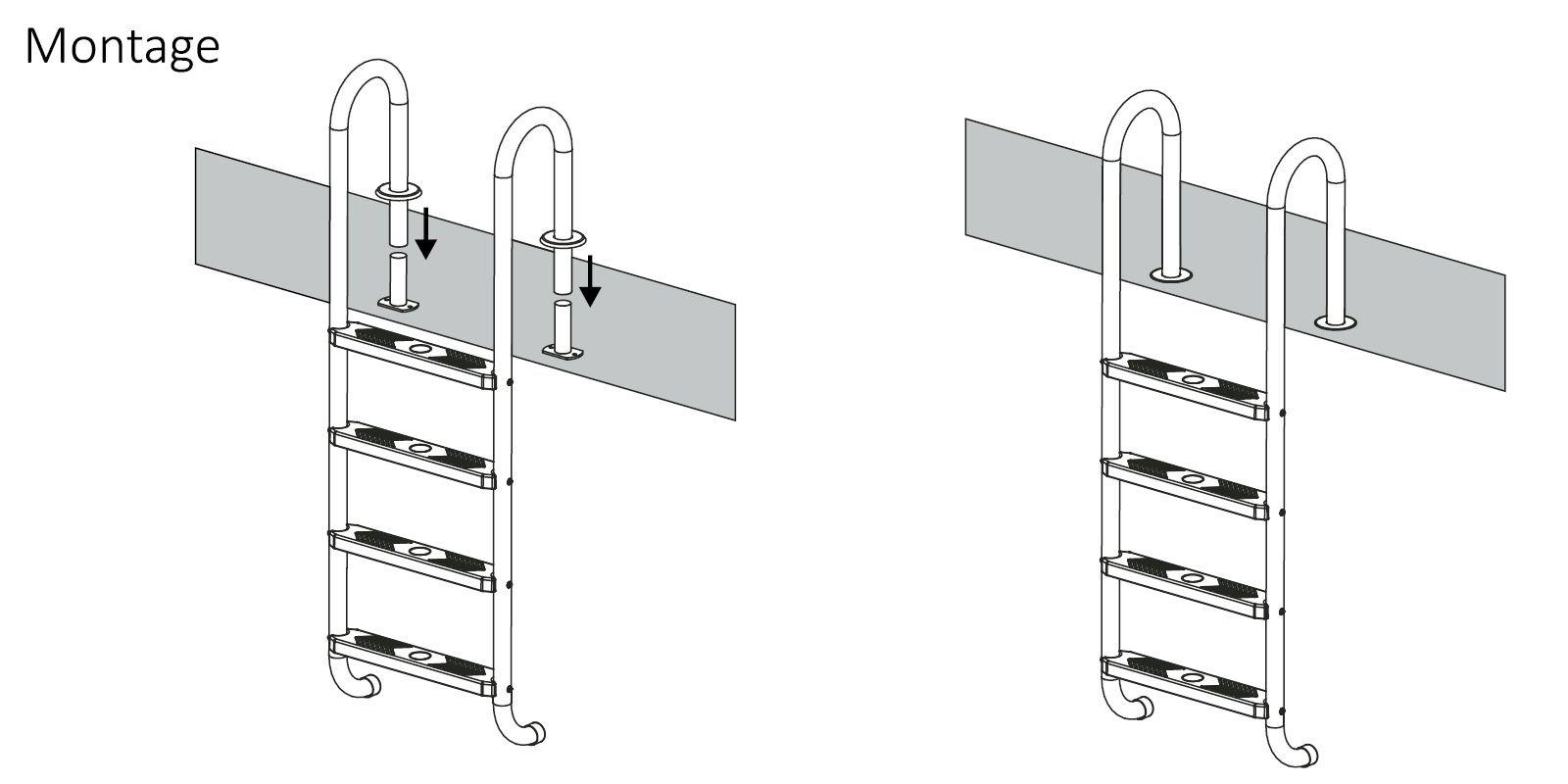 Escalera de piscina, de Zelsius, acero inoxidable V2A, con almohadillas de goma antideslizantes en los peldaños, con 3o 4peldaños