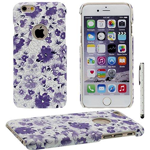 iPhone 6 Coque, Élégant Fleur Motif Serie Mince Poids léger ( Ajustement parfait ) Dur Plastique Housse de Protection Case pour Apple iPhone 6 / 6S 4.7 inch avec 1 stylet violet
