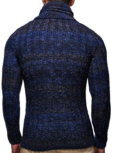 LEIF NELSON Herren Strickpullover Grobstrick LN6001 Dunkel Blau
