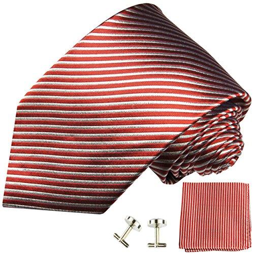 Cravate homme rouge rayures ensemble de cravate 3 Pièces ( longueur 165cm )