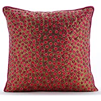 The HomeCentric Funda de Almohada Decorativa Oro Zari Lentejuelas de Seda con Textura Seda 55 x