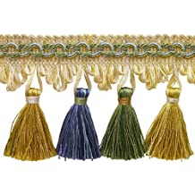 """5yard valor pack de verde, dorado, azul 23/4""""Imperial II borlas estilo # nt2502color: montaña primavera–4668(15ft/4,5metros)"""